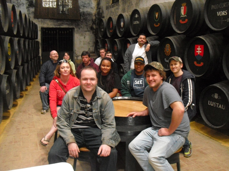 A group from a culinary school in the United States visiting a sherry winery