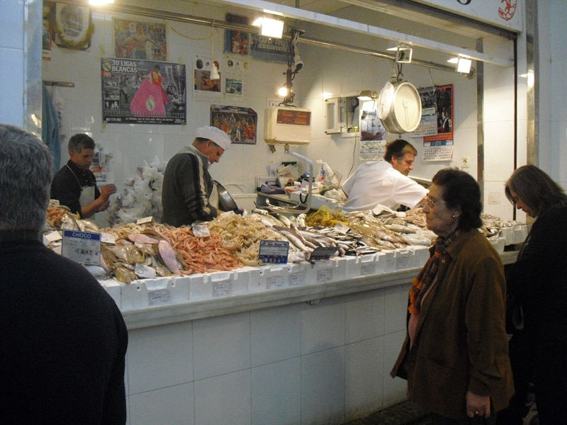 Fish stall at the Sanlucar de Barrameda market