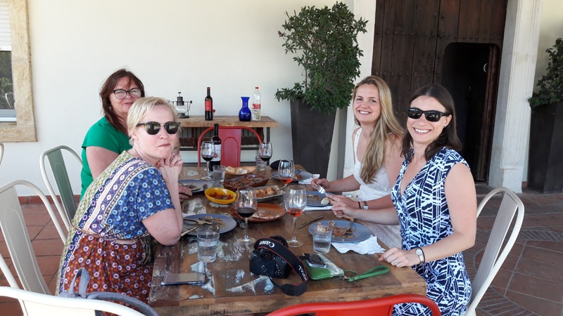 A group having lunch at a winery near Ronda