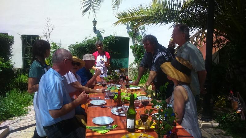 Having lunch outside on Iberian pig farm