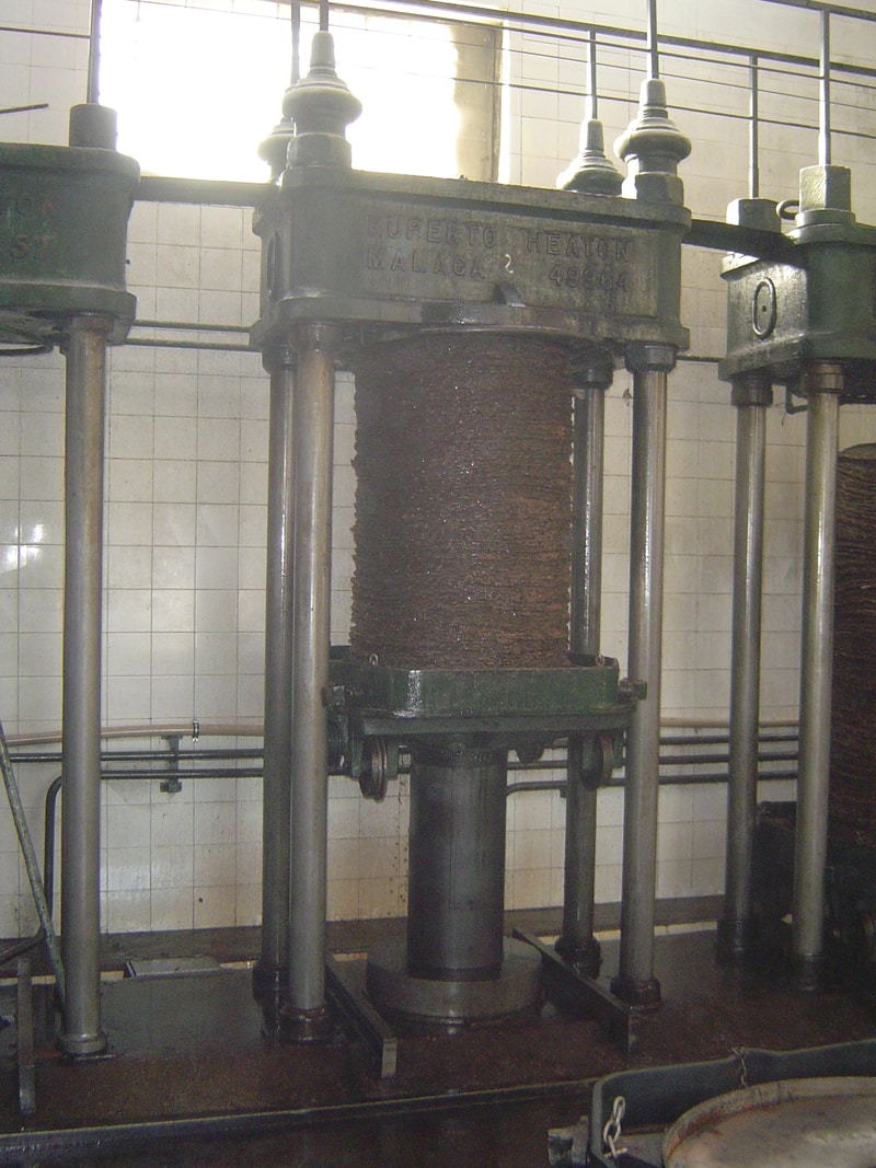 A hydraulic press in operation in an olive mill