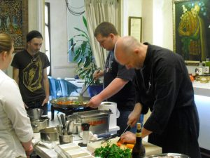 A group making paella in our cooking classes