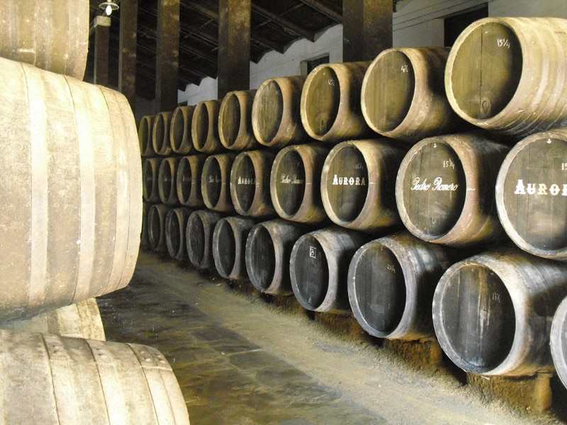 Sherry butts inside a winery in Sanlucar de Barameda