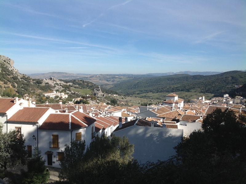 View over town of Grazalema with hills in the background