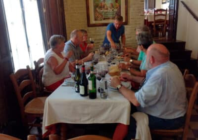A group around a table tasting wine in Seville