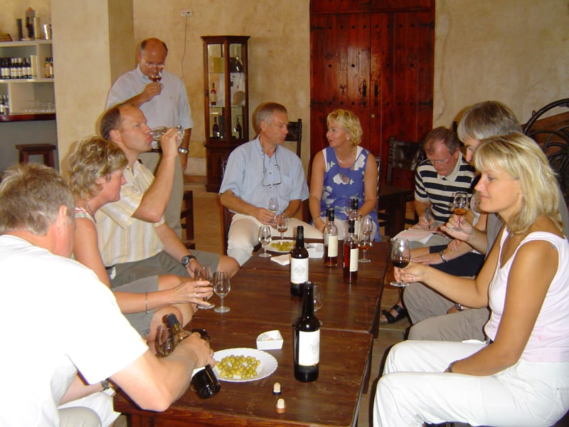 Group sitting around a table tasting sherry in Jerez de la Frontera