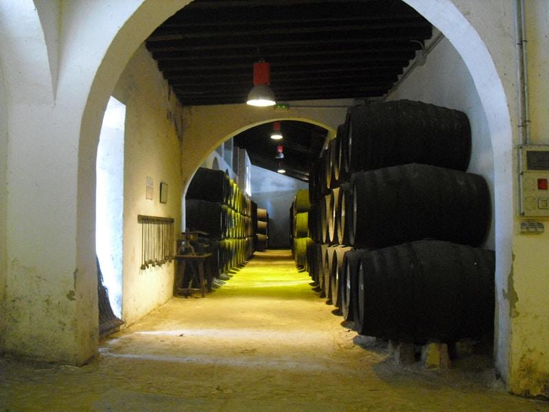 The interior of a winery in Sanlucar de Barrameda